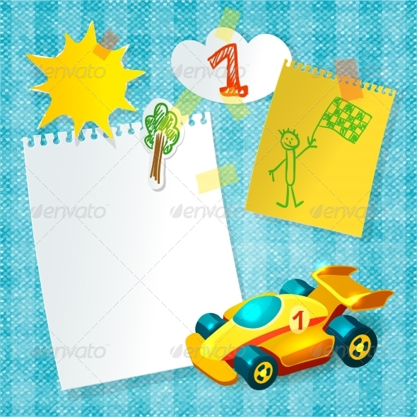 GraphicRiver Toy Racing Car Paper Postcard Template 7734185