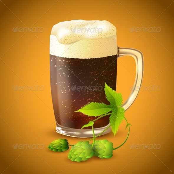 GraphicRiver Dark Beer and Hop Background 7734194