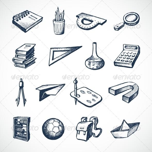 GraphicRiver School Sketch Icons 7734243