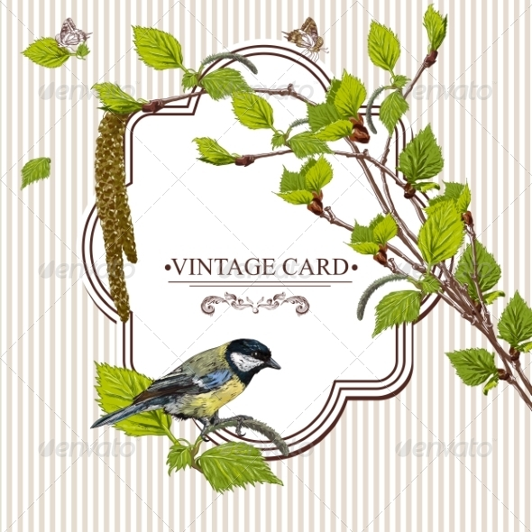 GraphicRiver Vintage Card with Birch Twigs and Bird Tit 7734348