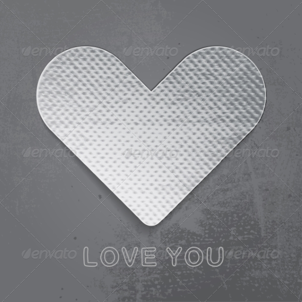 Paper Heart on Gray Background.