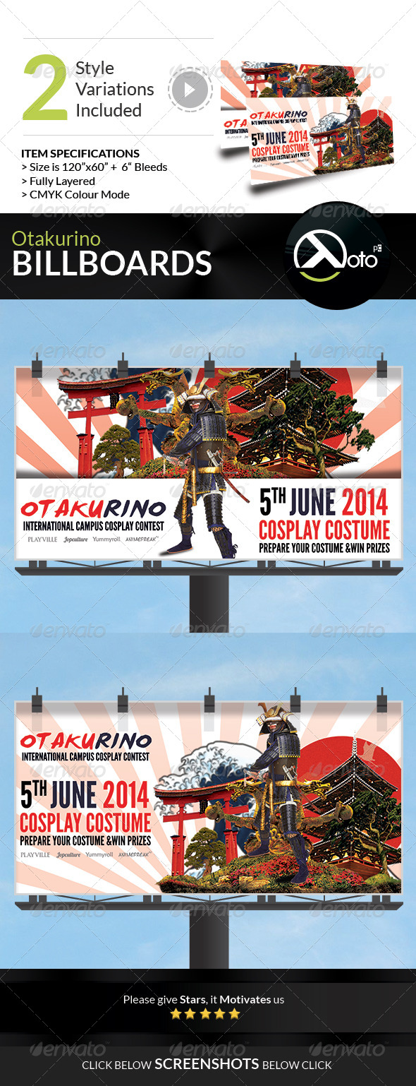 GraphicRiver Otakurino International Cosplay Contest Billboards 7734992