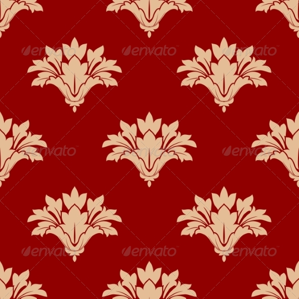 GraphicRiver Red and Beige Floral Seamless Pattern 7735095