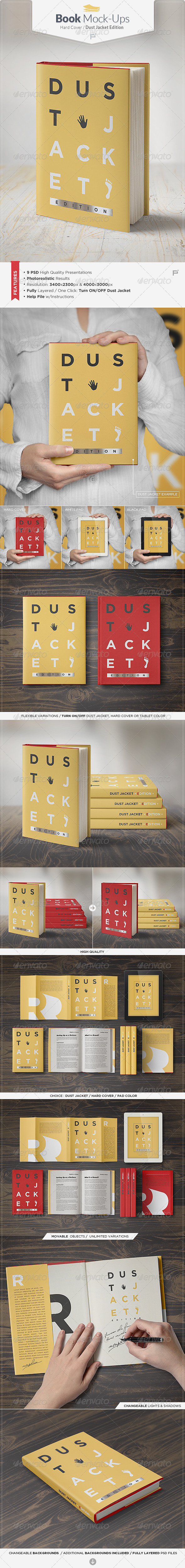GraphicRiver Book Mock-Up Dust Jacket Edition 7735188