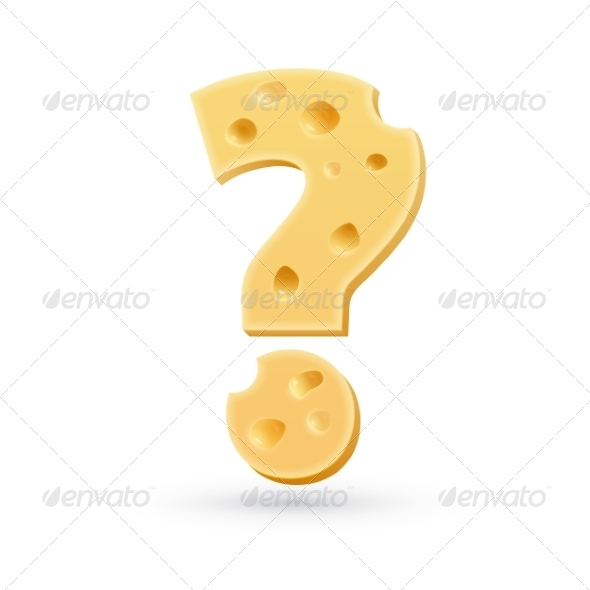 Cheese Question Mark Symbol Isolated on White