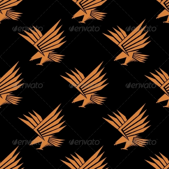 GraphicRiver Seamless Pattern of a Stylized Flying Eagle 7735251