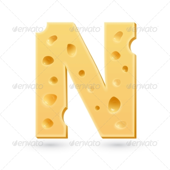 GraphicRiver N cheese letter Symbol isolated on white 7735498