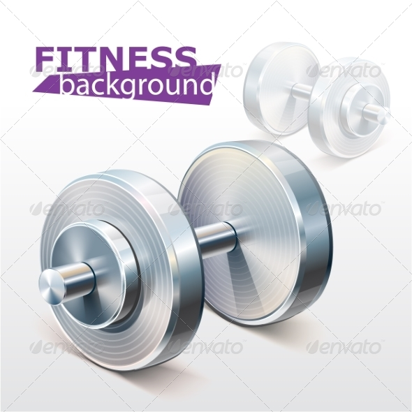 GraphicRiver Fitness Background with Metal Realistic Dumbbell 7735591