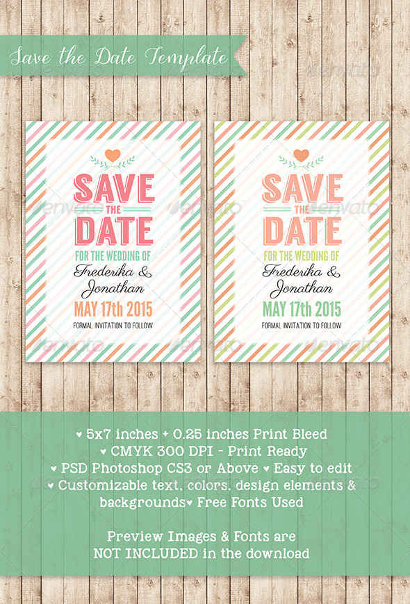 GraphicRiver Stripes Save the Date PSD Template 7736272