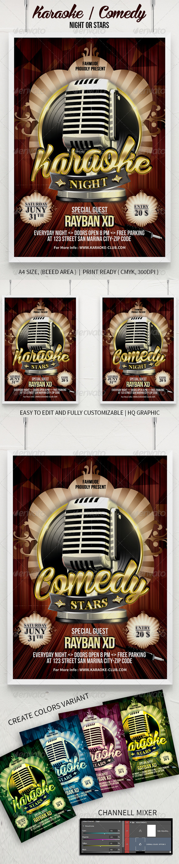 GraphicRiver Karaoke Or Comedy Night Stars Poster And Flyer 7736421