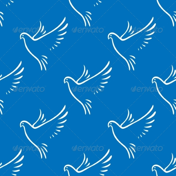 GraphicRiver Seamless Pattern of Flying Doves of Peace 7736612