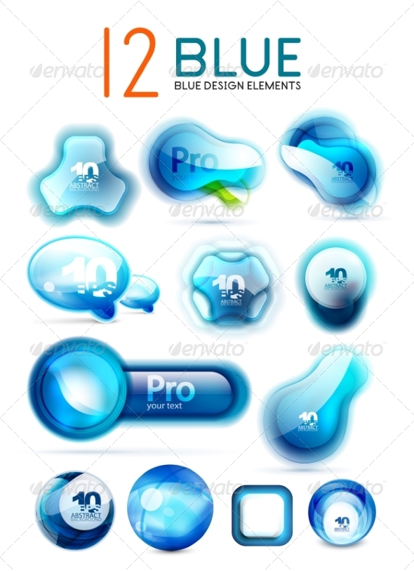 GraphicRiver Vector Blue Icons Web Boxes Design Collection 7736702