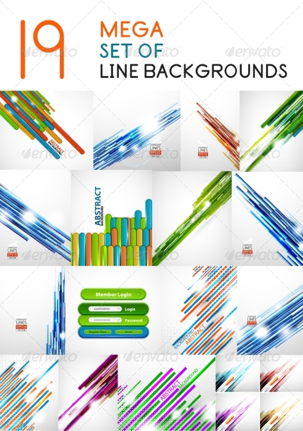 GraphicRiver Vector Straight Line Backgrounds Design Collection 7736706