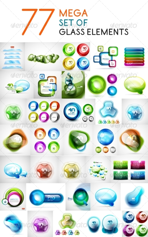 GraphicRiver Glass Abstract Shapes 7736714