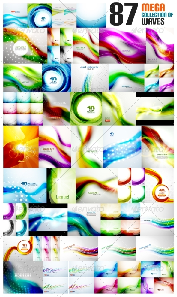 GraphicRiver Mega Collection of Wave Abstract Backgrounds 7736724
