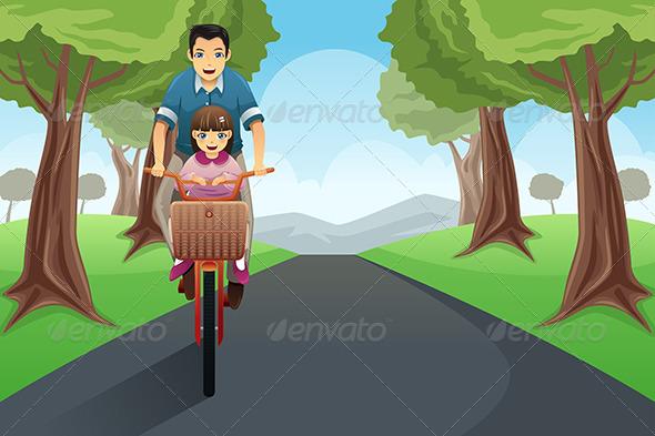GraphicRiver Dad Daughter Biking Together 7737522