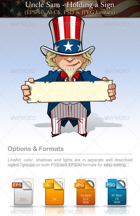 GraphicRiver Uncle Sam Holding a Sign 7737523