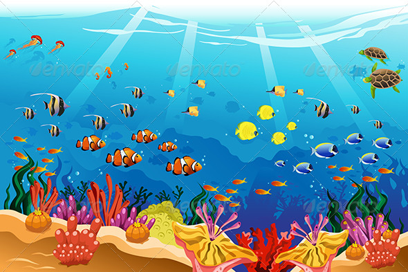GraphicRiver Marine Underwater Scene 7737626