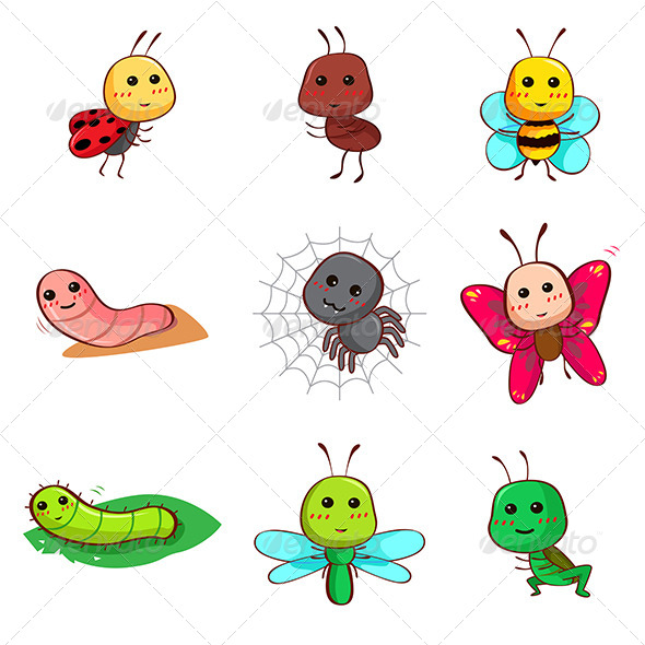 GraphicRiver Cartoon Insects and Bugs 7737786