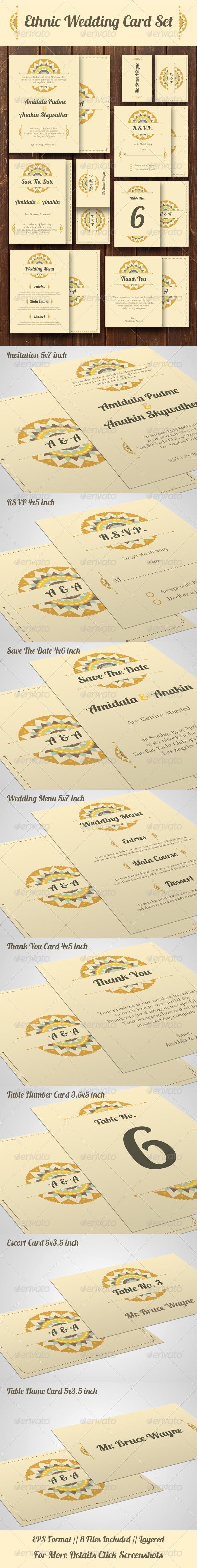 GraphicRiver Ethnic Wedding Card Set 7737793