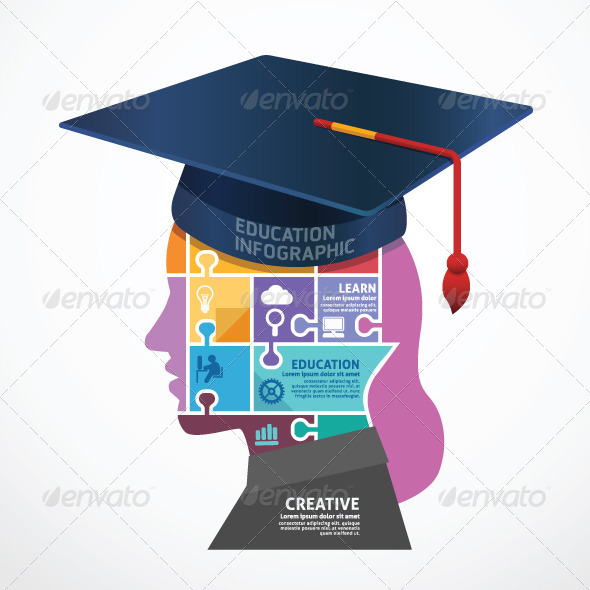Infographic Template Graduation Cap Head Jigsaw