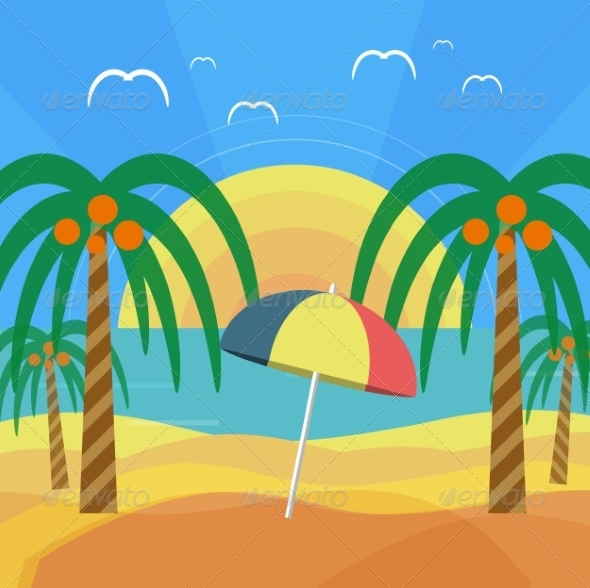 GraphicRiver Tropical Beach with Palm Trees and Umbrella 7737842