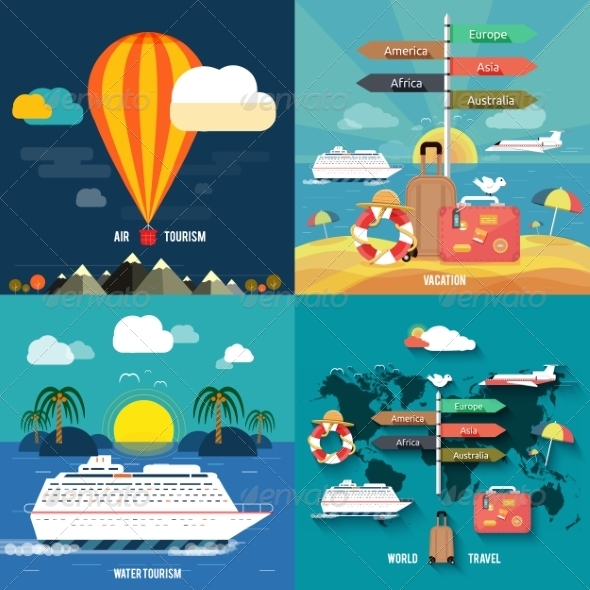 GraphicRiver Set of Traveling and Planning a Summer Vacation 7737852