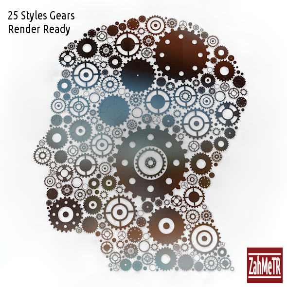 3D Gears Human Head Shaped - 3DOcean Item for Sale