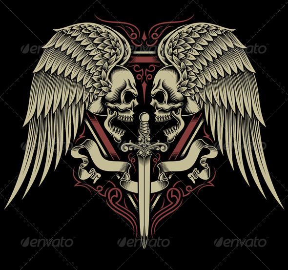 GraphicRiver Two Faced Skull With Wings and Sword 7737881