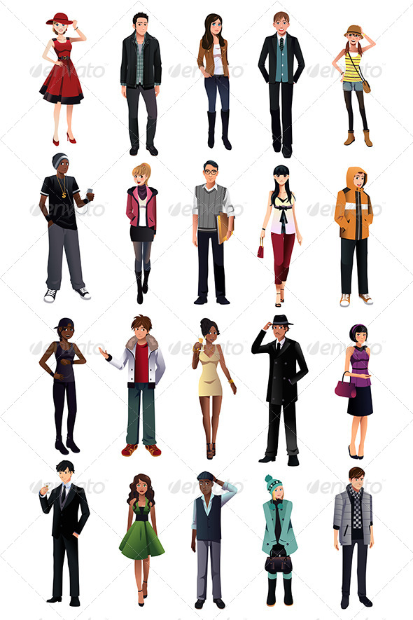 GraphicRiver Stylish Young People from Different Ethnicity 7738066
