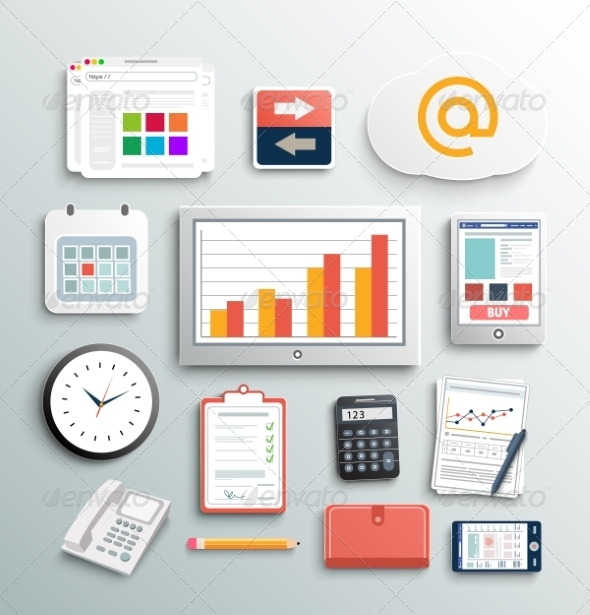 GraphicRiver Set of Office and Business Work Elements 7738099