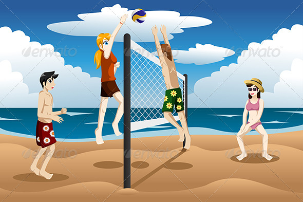 GraphicRiver People Playing Beach Volleyball 7738235