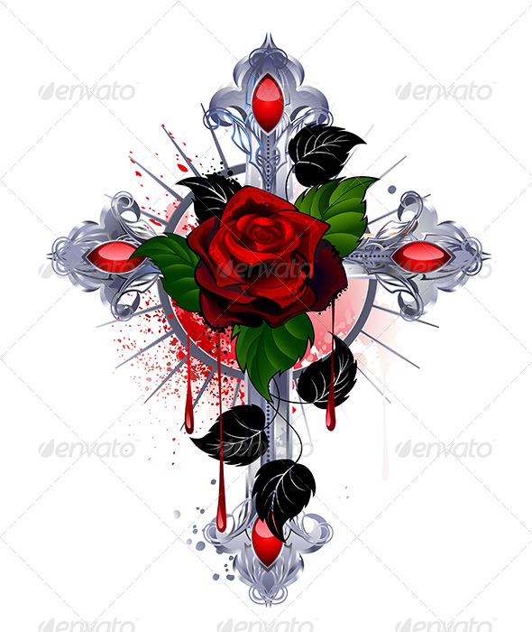 GraphicRiver Cross with a Red Rose 7738620
