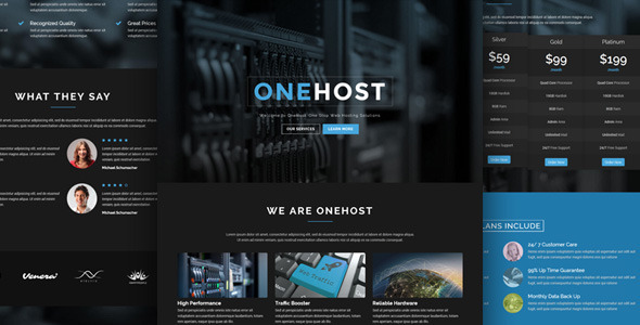 Onehost - One Page Responsive Hosting Template - Hosting Technology