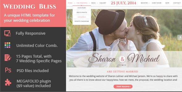 Wedding Bliss - a Unique Wedding Template - Wedding Site Templates