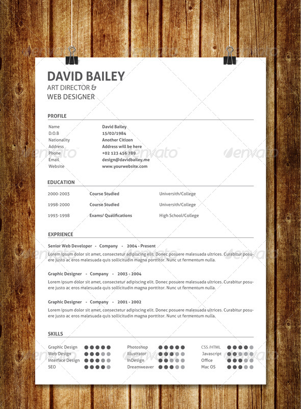 GraphicRiver Simple Clean Resume V6 7739355