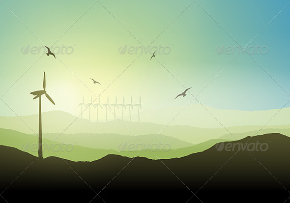 GraphicRiver Landscape with Wind Turbines 7739557