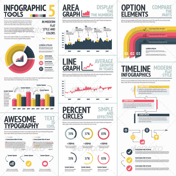 GraphicRiver Red and Yellow Infographic Elements Set 5 Vector 7739652