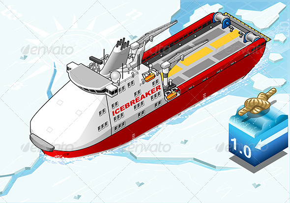 GraphicRiver Isometric Icebreaker Ship Breaking the Ice 7740064
