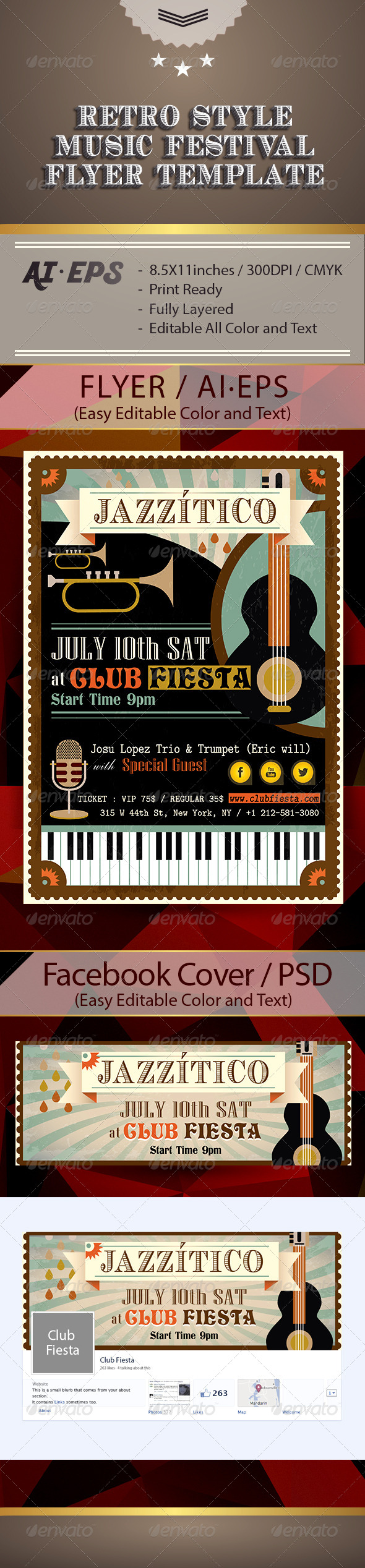 GraphicRiver Latin Jazz Retro Flyer & Facebook Cover 7740080