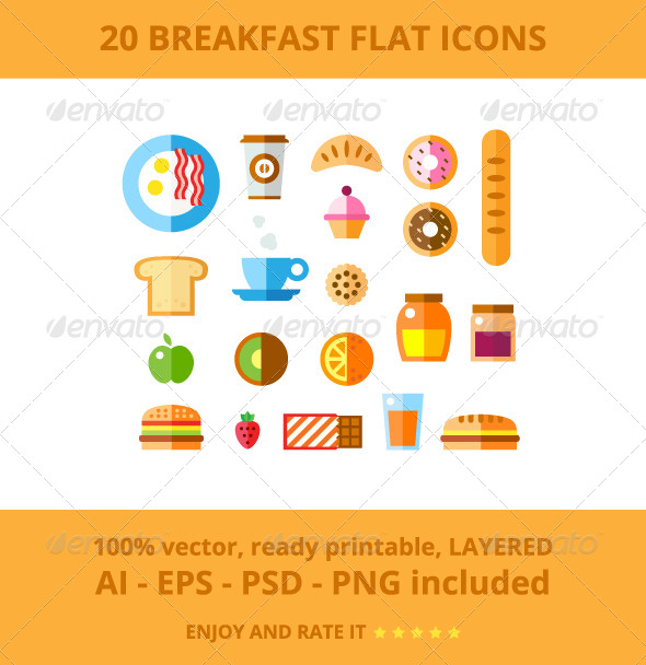 GraphicRiver 20 Breakfast Flat Icons 7740234