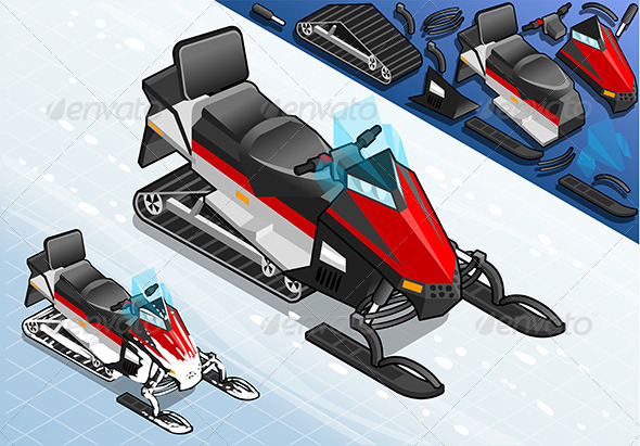 GraphicRiver Isometric Snowmobile in Front View 7740627