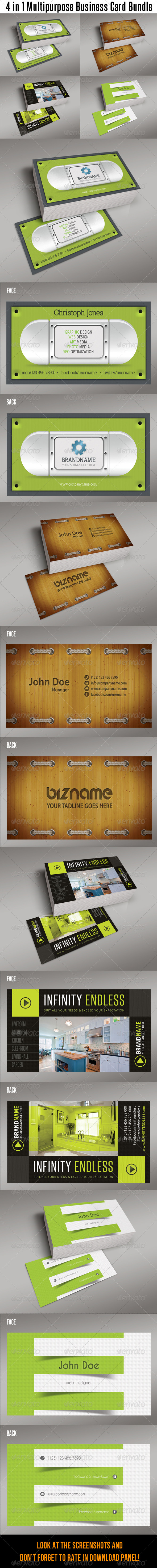GraphicRiver 4 in 1 Multipurpose Business Card Bundle 01 7740856