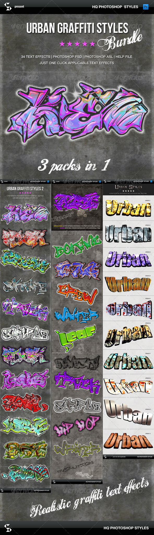 GraphicRiver Urban Graffiti Styles Bundle 7740953