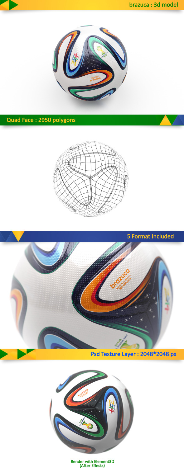 3DOcean Brazuca Soccer Ball World Cup 7721175