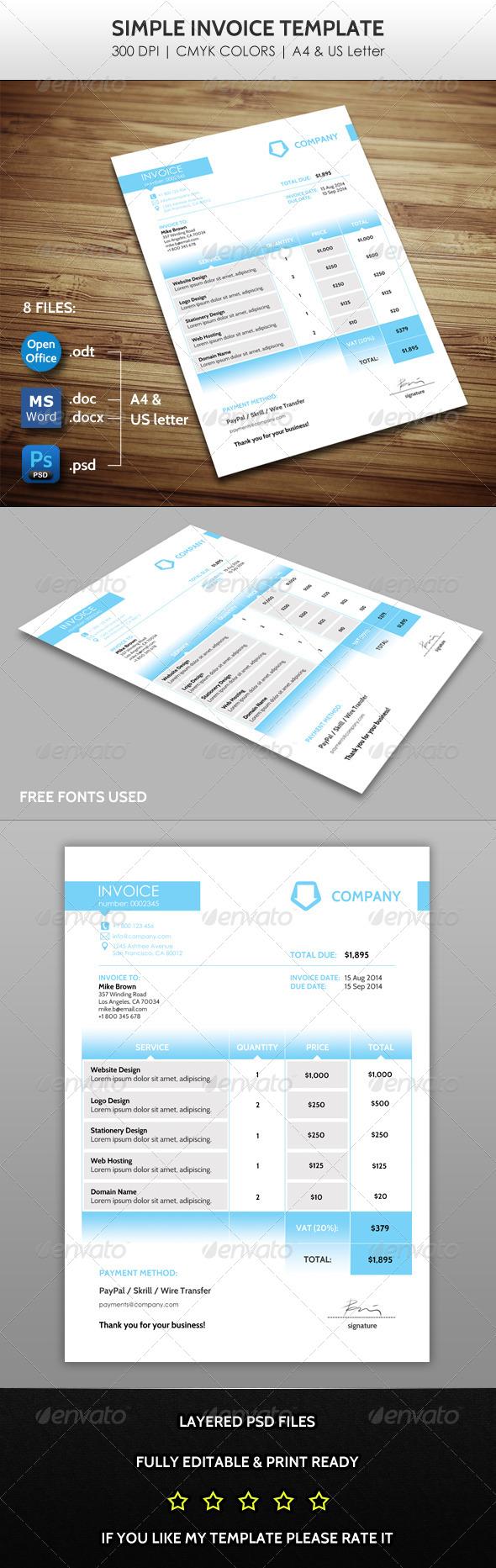GraphicRiver Simple Invoice 7702237