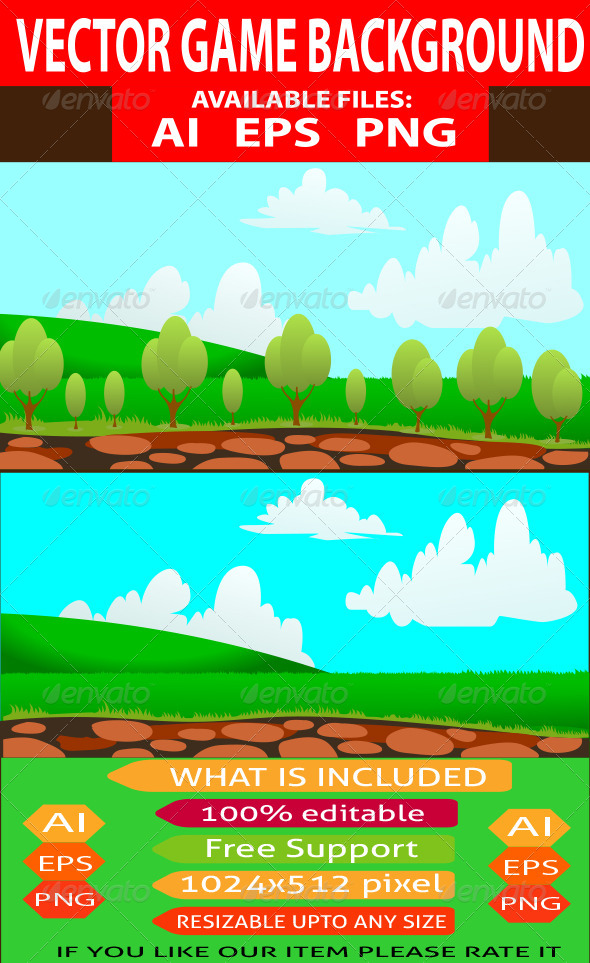 GraphicRiver Vector Nature Game Background 7742259