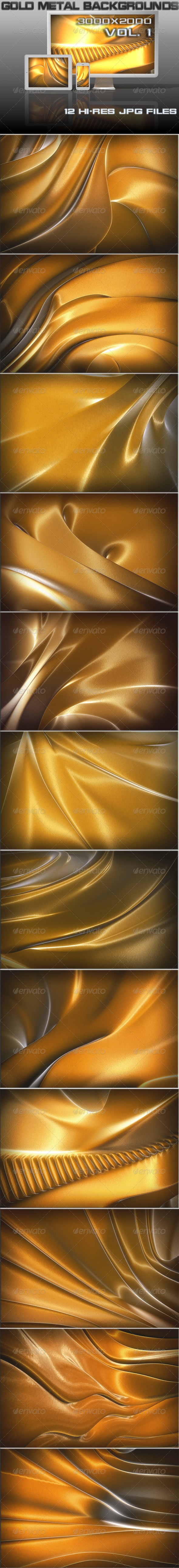 GraphicRiver Gold Metal 3D Backgrounds 7742326