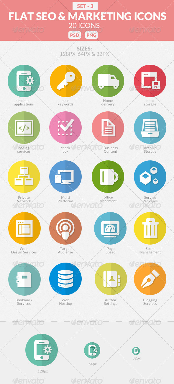 GraphicRiver Flat SEO & Marketing Icons Pack 3 7742446