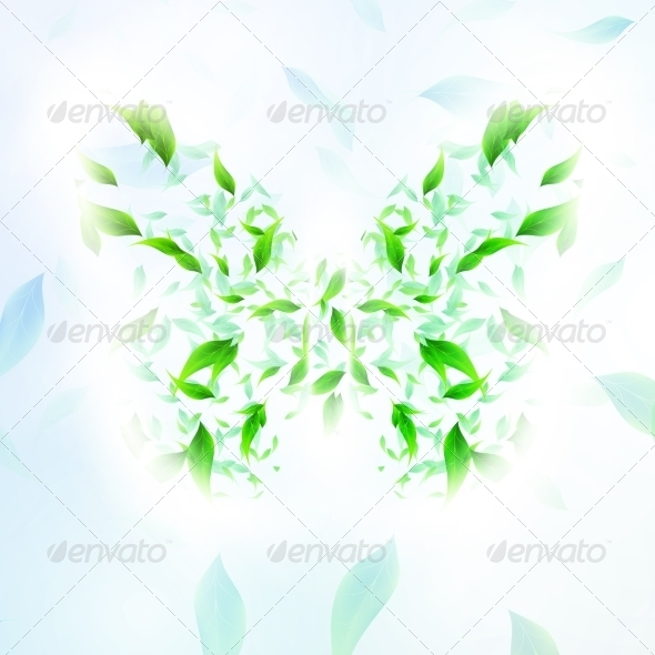 GraphicRiver Leaves Form a Butterfly Abstract Shape 7742973